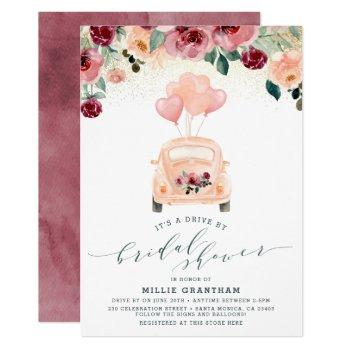 blush pink & burgundy drive by bridal shower invitation