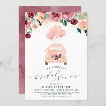 blush pink & burgundy drive by bridal shower invitation