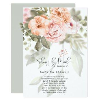 blush pink coral peonies shower by mail invitation