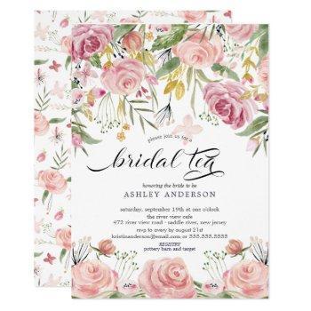 blush pink floral bridal tea invitation