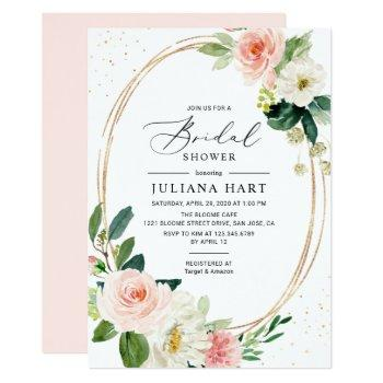 blush pink floral geometric frame bridal shower invitation