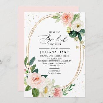 blush pink floral geometric frame bridal shower invitation