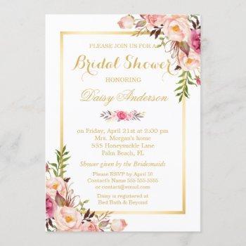 blush pink floral gold frame bridal shower invitation