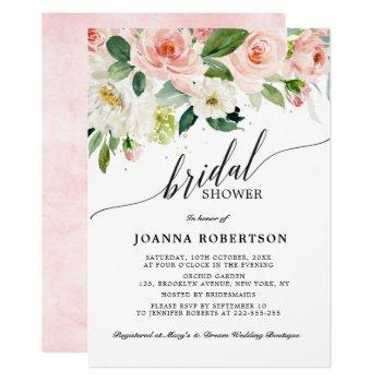blush pink florals modern botanical bridal shower invitation