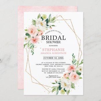 blush pink florals modern geometric bridal shower invitation
