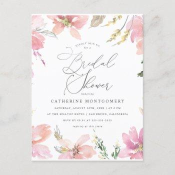 blush pink flowers & silver script bridal shower invitation postcard