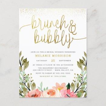 blush pink & gold brunch & bubbly bridal shower invitation postcard