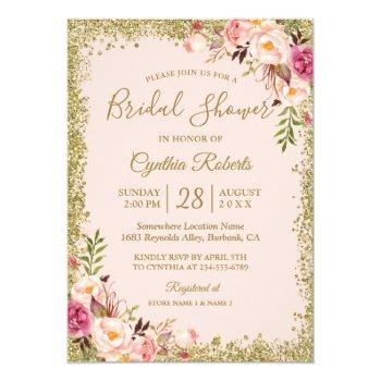 blush pink gold glitters floral bridal shower invitation
