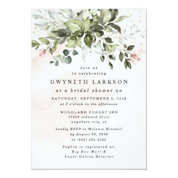 Blush Pink Gold Greenery Dusty Blue Bridal Shower Invitation Front View