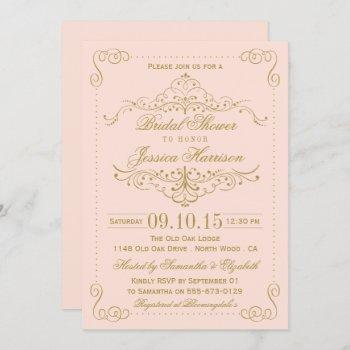 blush pink & gold ornate swirl bridal shower invitation