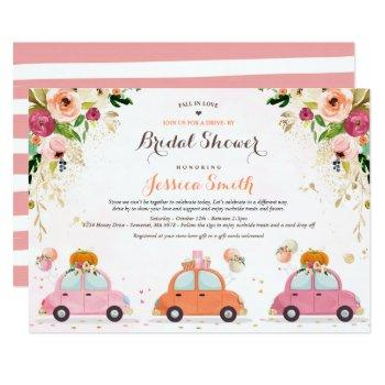 blush pink & gold pumpkin drive by bridal shower invitation