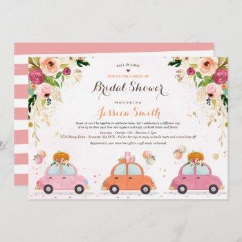 blush pink & gold pumpkin drive by bridal shower invitation