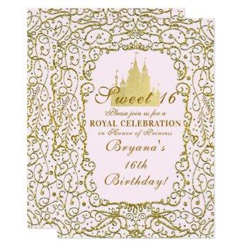 blush pink & gold royal castle princess sweet 16 invitation