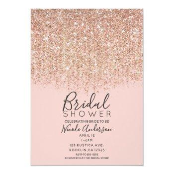 blush pink & rose gold glitter bridal shower invitation