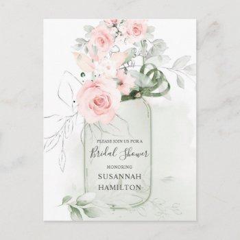 blush pink roses and pastel green mason jar bridal postcard
