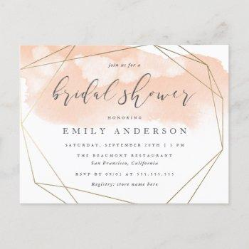 blush pink watercolor gold geometric bridal shower invitation postcard