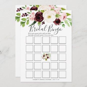blush romance double-sided bridal shower game invitation
