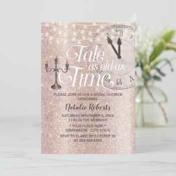 blush rose gold tale as old as time bridal shower invitation