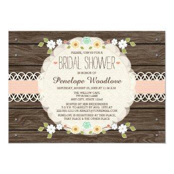 blush rustic floral boho bridal shower invitations