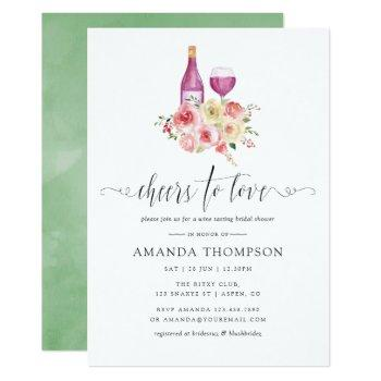 blush & sage floral bridal shower wine tasting invitation