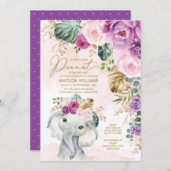 blush violet tropical greenery elephant baby invitation