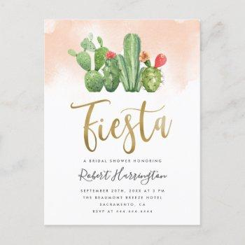 blush watercolor & cactus fiesta bridal shower invitation postcard