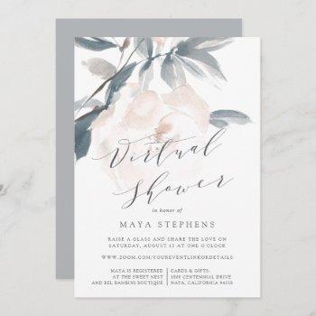 blush whisper virtual bridal or baby shower invitation