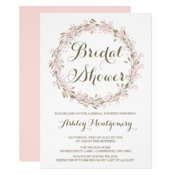 blush winter wreath bridal shower invitation
