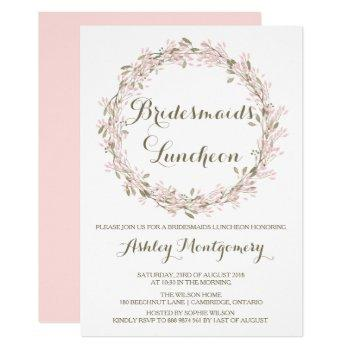 blush winter wreath bridesmaids luncheon invite