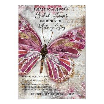 blushing butterfly bridal shower invitation