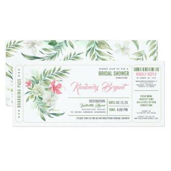 boarding pass | floral beach bridal shower ticket invitation