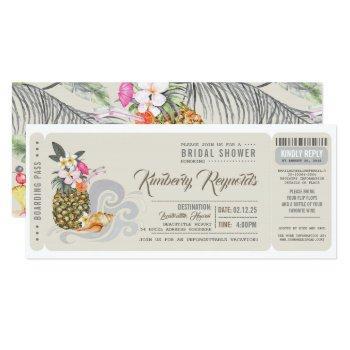 boarding pass | pineapple | beach bridal shower invitation