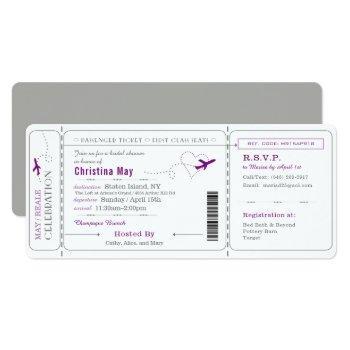boarding pass ticket bridal shower invitation