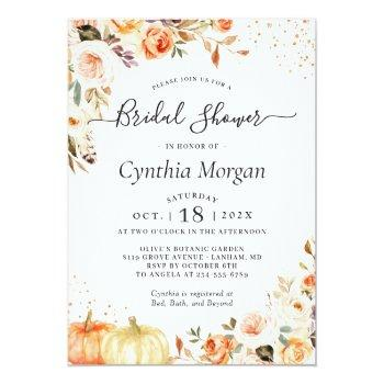 Bohemian Autumn Gold Floral Fall Bridal Shower Invitation Front View