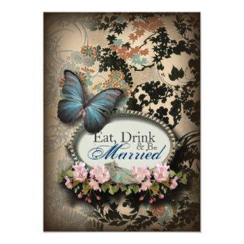 bohemian botanical butterfly paris bridal shower invitation