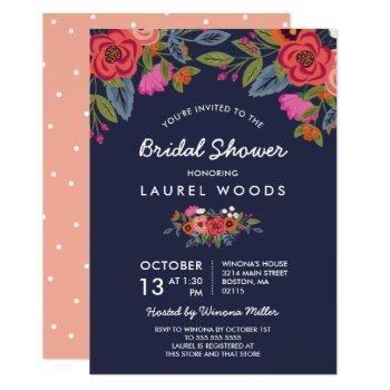 bohemian bouquet - navy blue bridal shower invitation