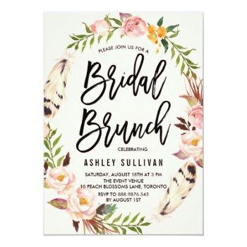 bohemian feathers and floral wreath bridal brunch invitation