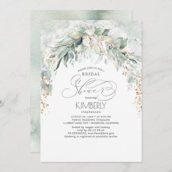 bohemian greenery romantic summer bridal shower invitation