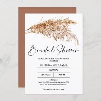 bohemian pampas grass bridal shower invitation