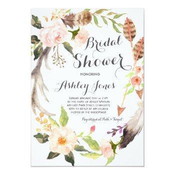 boho antler succulents bridal shower invitation