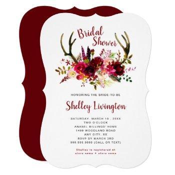 boho antlers marsala floral bridal shower invitation
