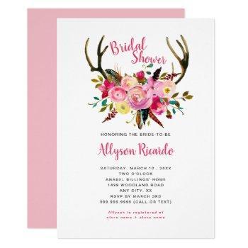 boho antlers pink mix floral bridal shower invitation