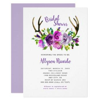 boho antlers purple mix floral bridal shower invitation