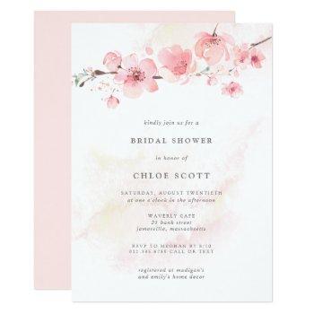 boho blush pink floral bridal shower invitation