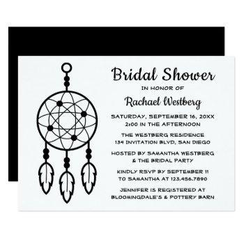 boho bridal shower dreamcatcher black white tribal invitation