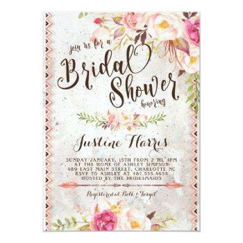 boho bridal shower invitation