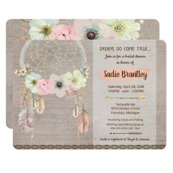 boho bridal shower invitation, dreamcatcher rustic invitation
