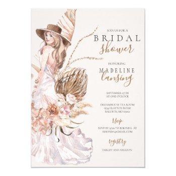 boho bride in wedding gown bridal shower invitation