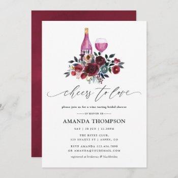 boho burgundy and navy bridal shower wine tasting invitation