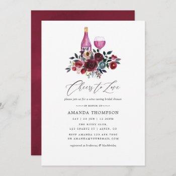 boho burgundy and navy wine tasting bridal shower invitation